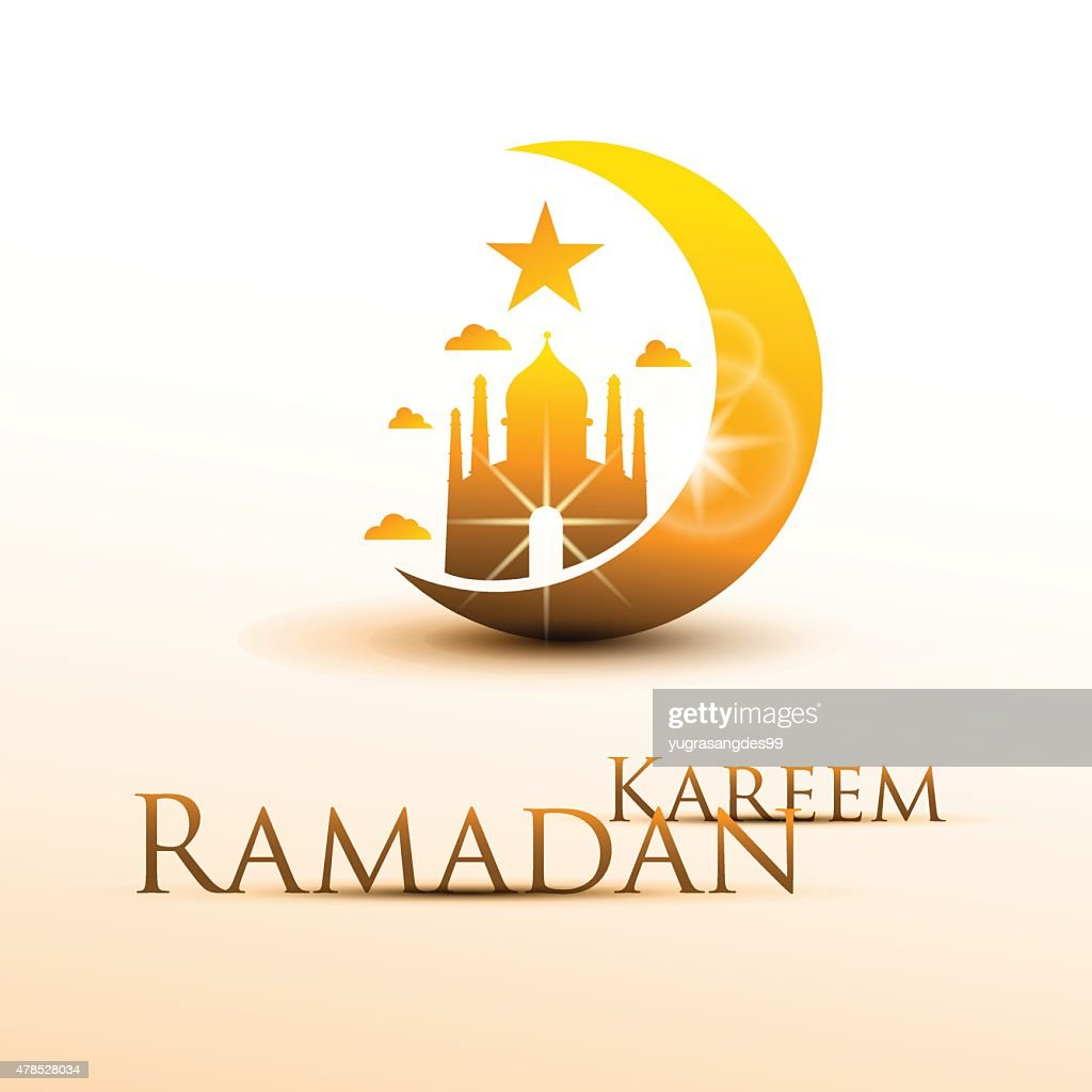 Ramadan Kareem with yellow moon and mosque. Vector Illustration
