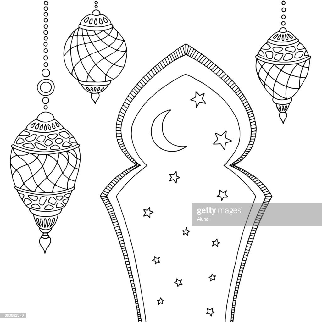 Ramadan lamps graphic moon star black white sketch illustration vector