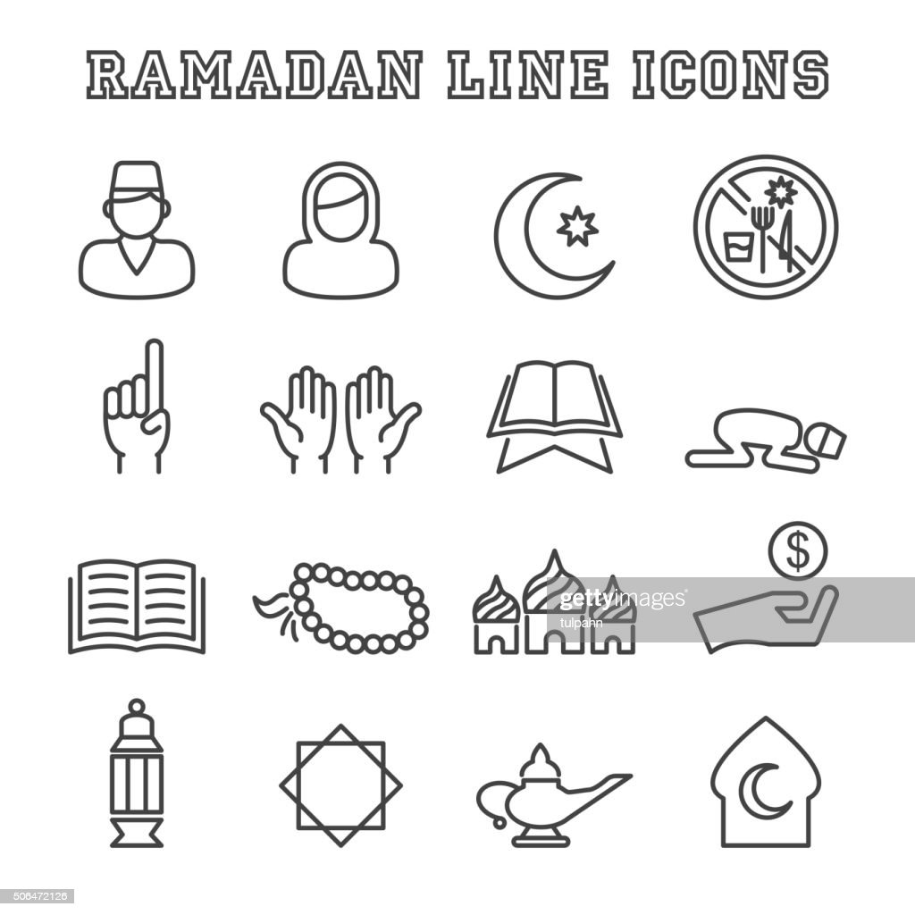 ramadan line icons