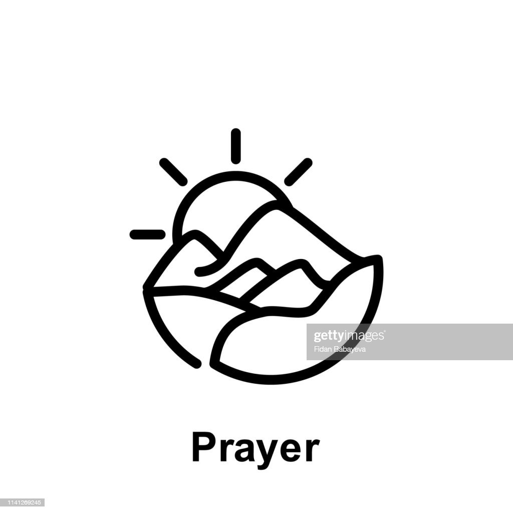 Ramadan prayer outline icon. Element of Ramadan day illustration icon. Signs and symbols can be used for web, logo, mobile app, UI, UX
