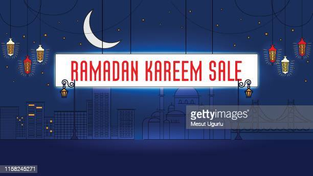 ramadan sale banner template design background - fasting activity stock illustrations, clip art, cartoons, & icons