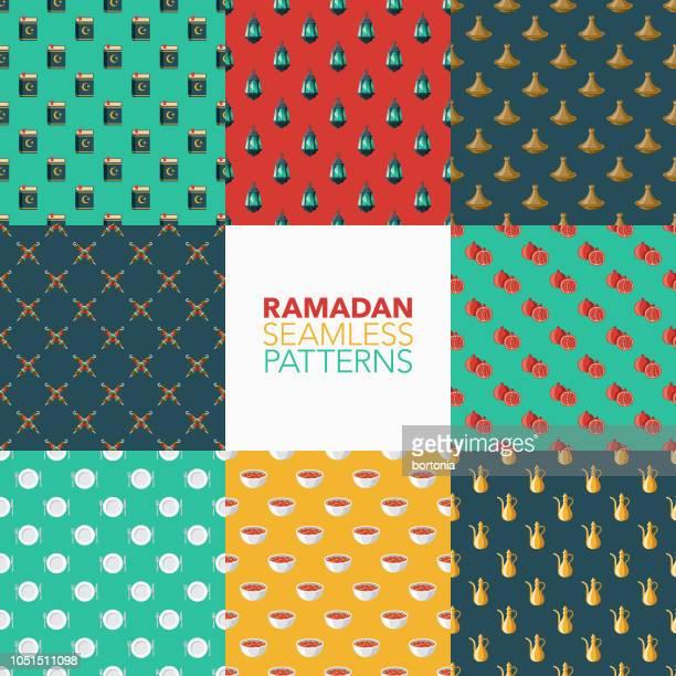 ramadan seamless pattern set - fasting activity stock illustrations, clip art, cartoons, & icons
