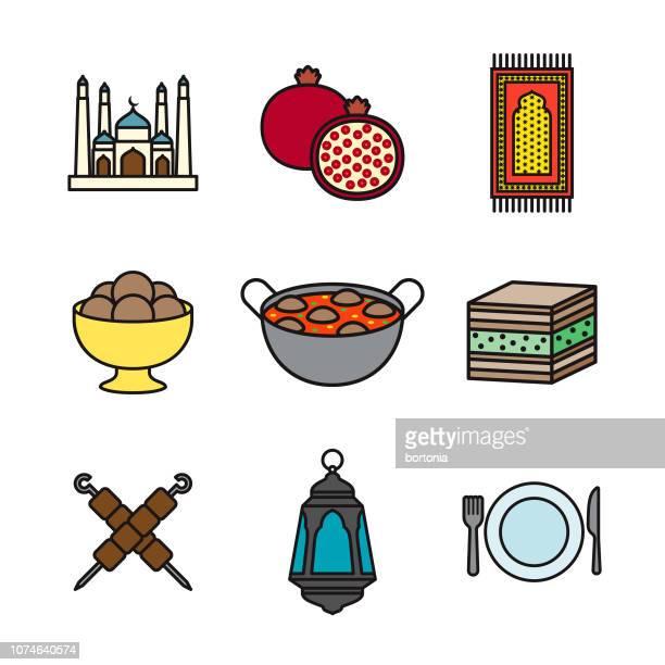 ramadan thin line icon set - fasting activity stock illustrations, clip art, cartoons, & icons