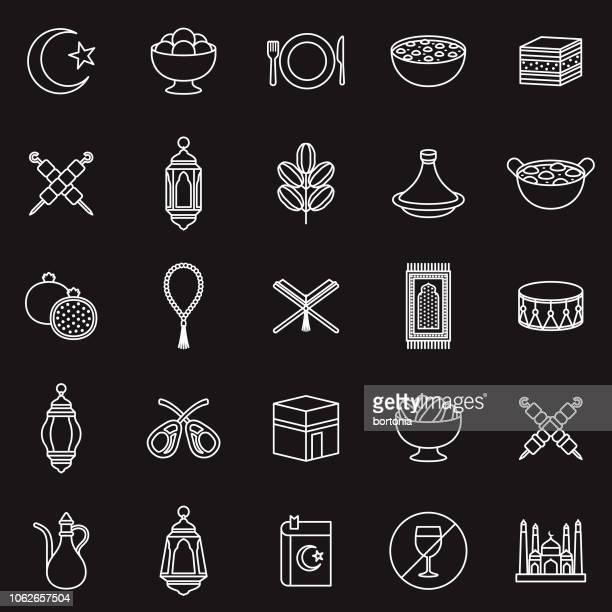ramadan thin line outline icon set - fasting activity stock illustrations, clip art, cartoons, & icons