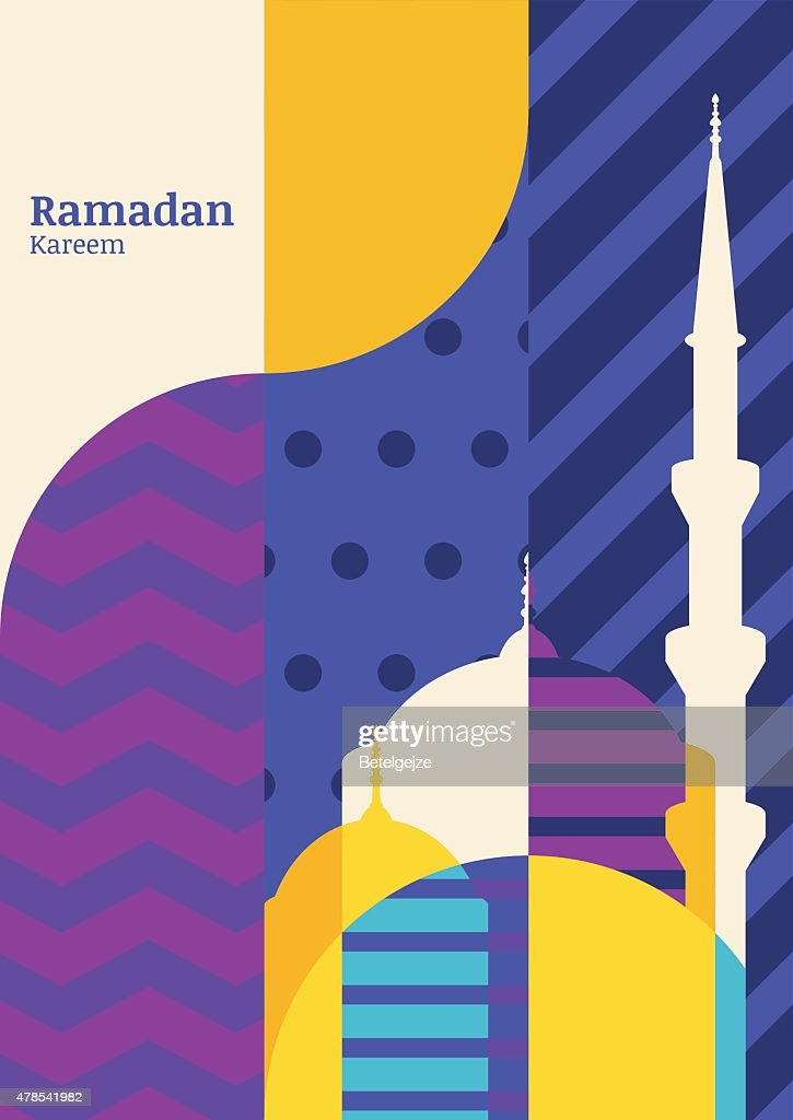 Ramadan vector greeting card, silhouette of mosque with geometric pattern.