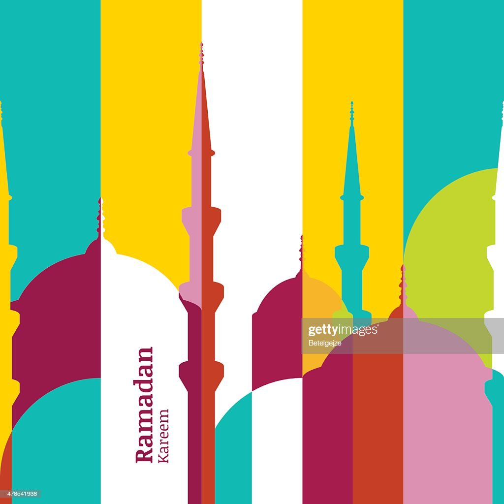 Ramadan vector greeting card with silhouette of mosque.