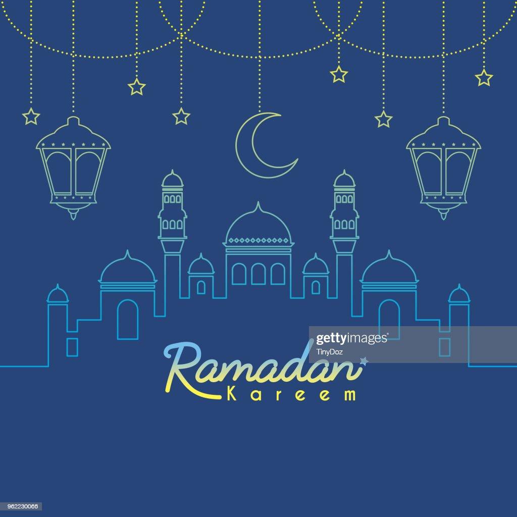 Ramadan_mosque & crescent moon in gradient lien art_blue