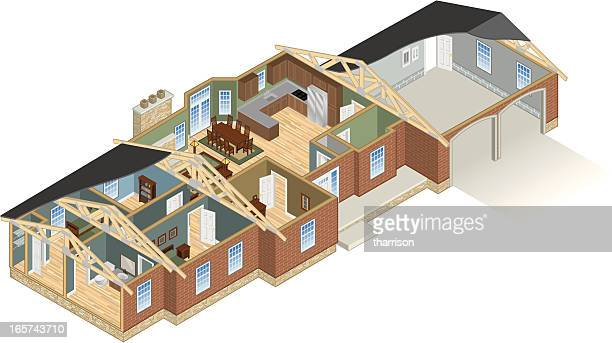 ranch house cutaway - cutaway drawing stock illustrations