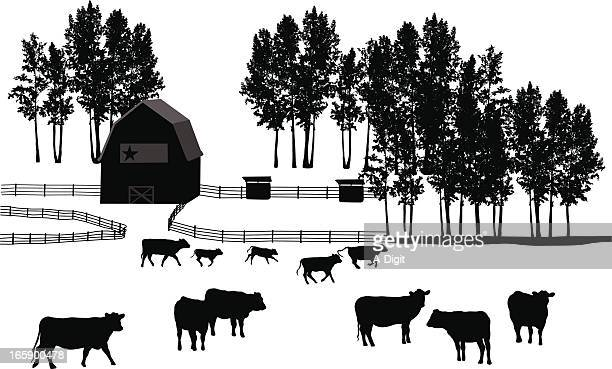 ranch land vector silhouette - ranch stock illustrations