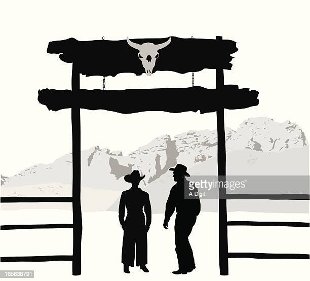 ranchers vector silhouette - entrance stock illustrations, clip art, cartoons, & icons