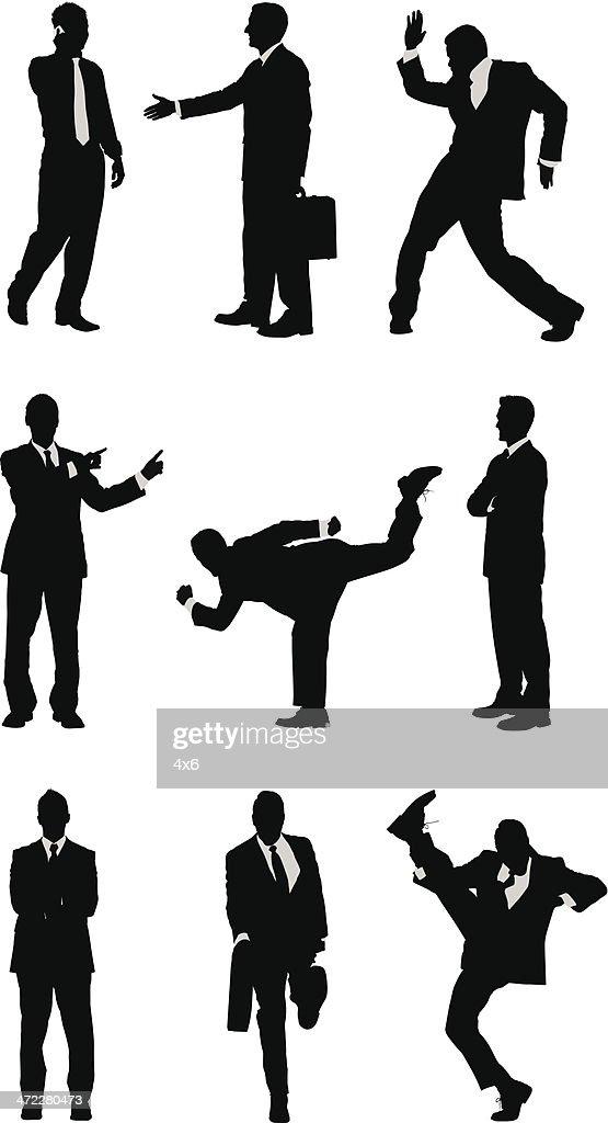 Random businessmen silhouettes : stock illustration