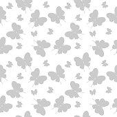 Random butterflies silhouettes seamless pattern. Vector design.