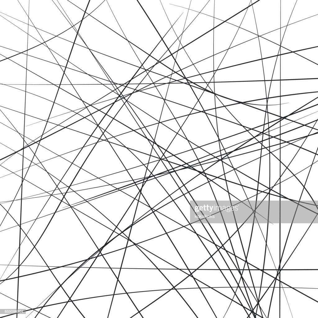 Random chaotic strip lines diagonally, abstract geometric background pattern. Vector modern art illustration, Brownian movement