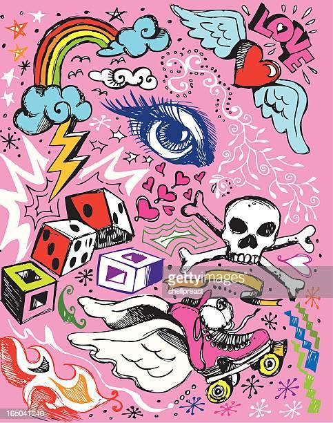 Random doodle elements on a pink background