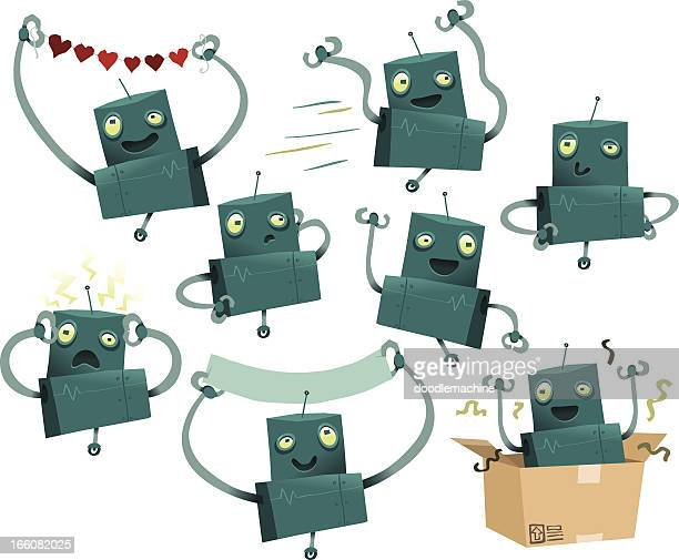 randy the robot collection - collection stock illustrations, clip art, cartoons, & icons