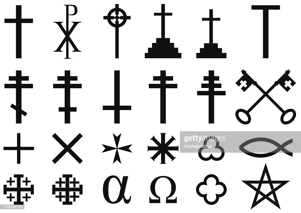 A range of Christian symbols on a white background