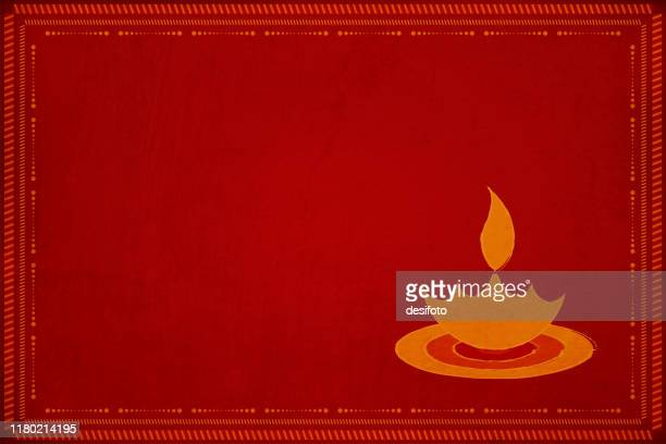 rangoli - dark red maroon colored grunge background diwali greeting with a a diya and a border of dots and small angled lines - diwali stock illustrations