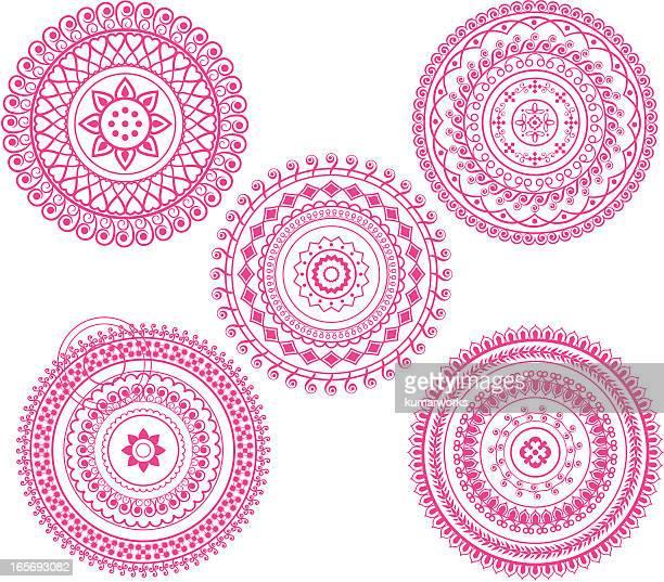 ilustraciones, imágenes clip art, dibujos animados e iconos de stock de rangoli diseño - etnia del subcontinente indio