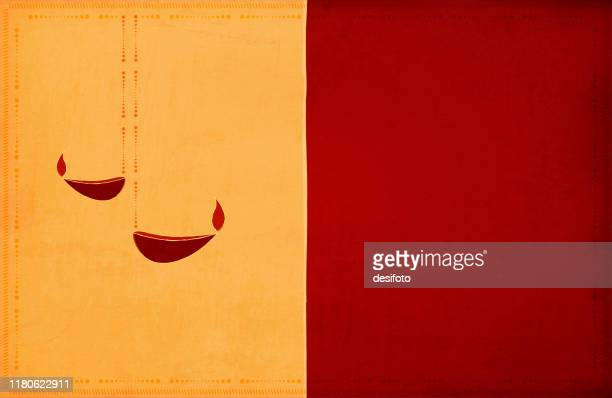 rangoli - two yellow, dark red maroon color broad, wide vertical stripes, grunge background diwali greeting with two diyas diya and a border of dots and small angled lines - diwali stock illustrations