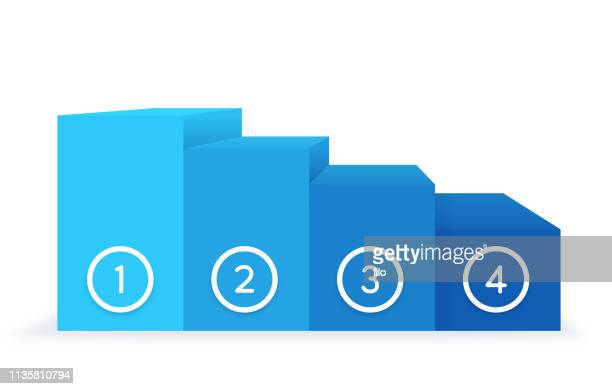 ranking scale graph - four objects stock illustrations