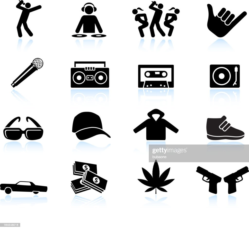 Rap and hip-hop music black & white vector icon set