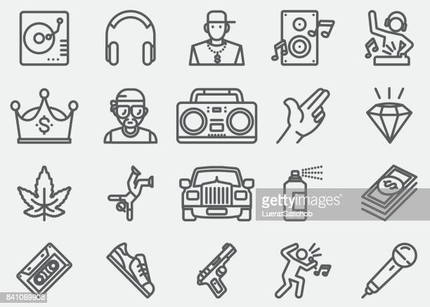 rap and hip-hop music line icons - hip hop music stock illustrations