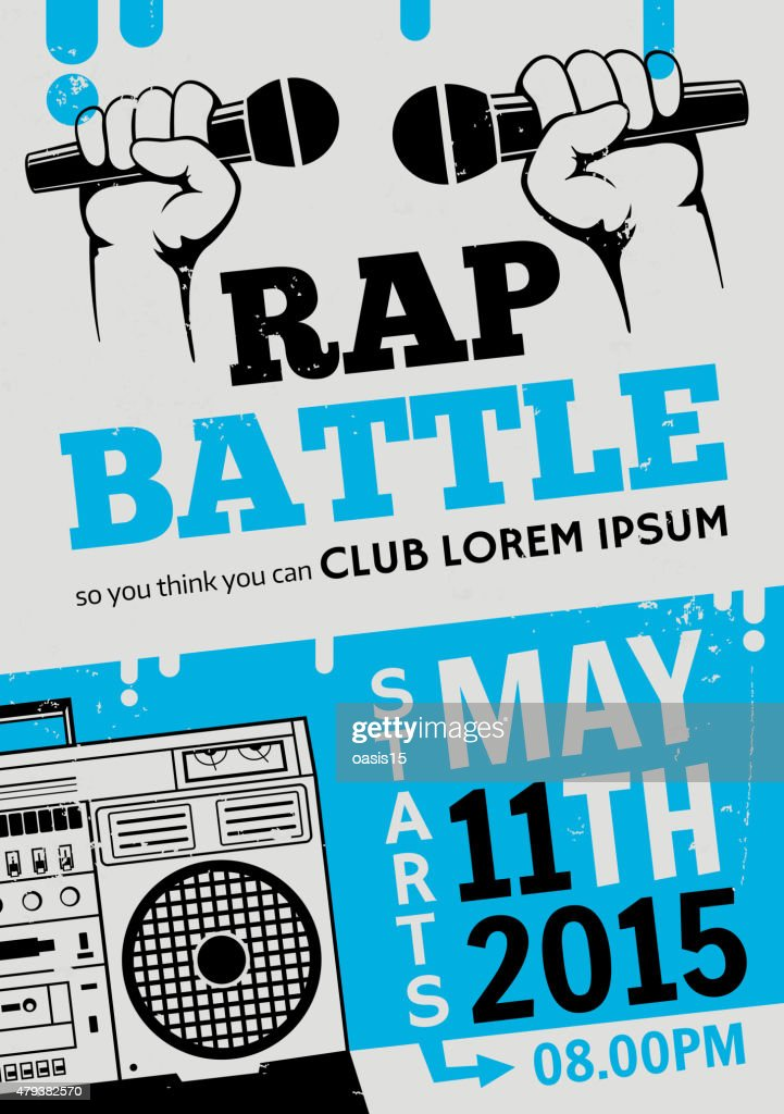Rap battle, concert hip-hop music. Vector template design, flyer, poster
