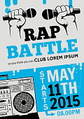 Rap battle, concert hip-hop music. Vector template design, flyer, poster