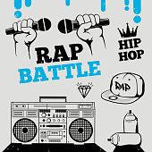 Rap battle, hip-hop, breakdance music design elements