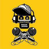 Rap battle sign with skull and two microphones. Retro style illustration. Hip-hop party.