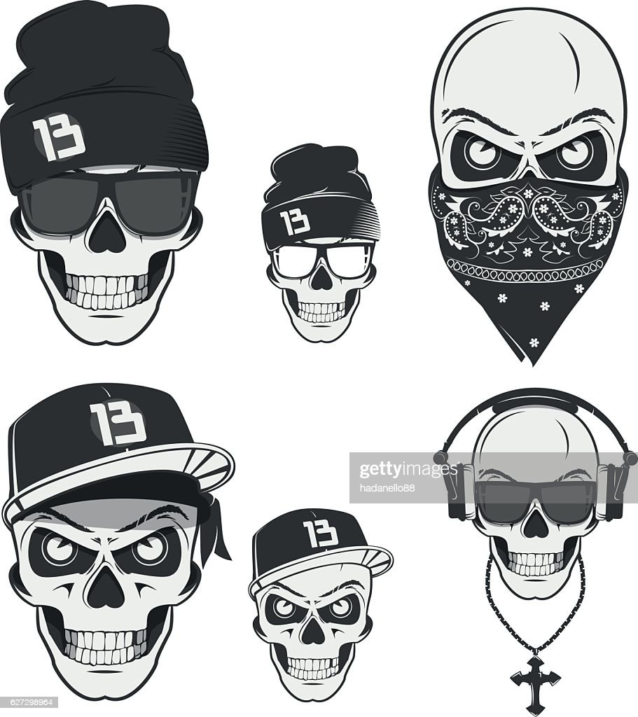 Rap skulls for emblems,logo and tattoo.