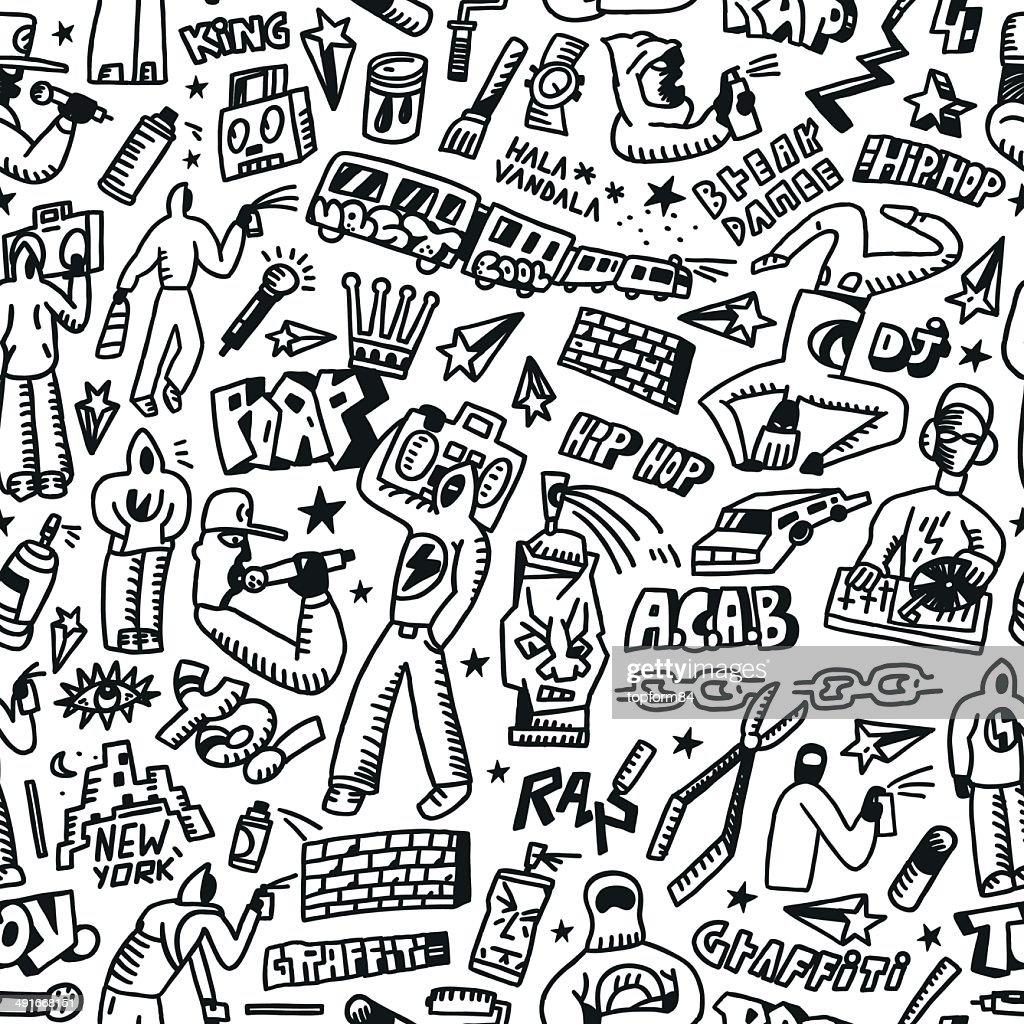 rap,hip hop ,graffiti - seamless background