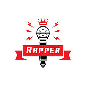 rapper badge with crown on microphone