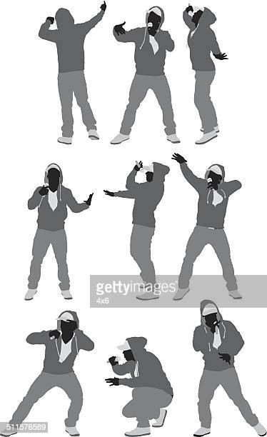 rapper in various poses - rap stock illustrations