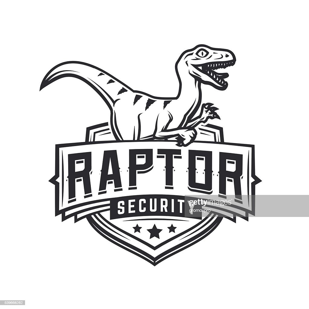 Raptor sport mascot design. Vintage college team coat of arms