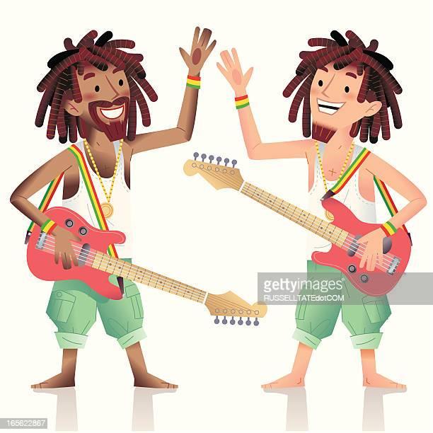 rasta brothers - rastafarian stock illustrations, clip art, cartoons, & icons