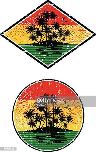 rasta island sunset - jamaican culture stock illustrations, clip art, cartoons, & icons