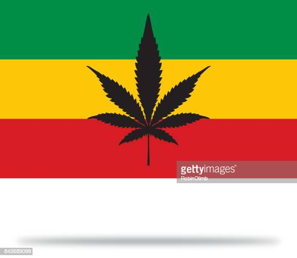 rasta marijuana flag with shadow - rastafarian stock illustrations, clip art, cartoons, & icons