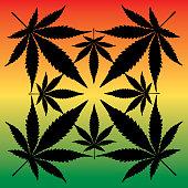 Rasta Marijuana Leaves Icon