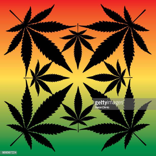 rasta marijuana leaves icon - rastafarian stock illustrations, clip art, cartoons, & icons