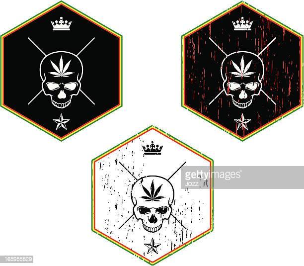 ilustrações de stock, clip art, desenhos animados e ícones de rasta crânio emblema - reggae