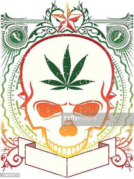 rasta skull emblem - rastafarian stock illustrations, clip art, cartoons, & icons