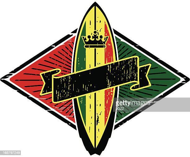 rasta surfboard - rastafarian stock illustrations, clip art, cartoons, & icons