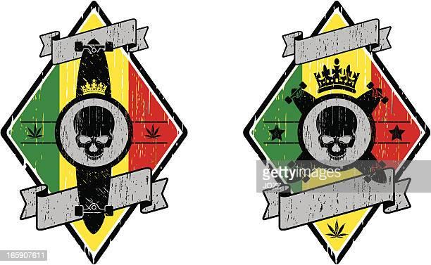 rastafari skate emblem - rastafarian stock illustrations, clip art, cartoons, & icons