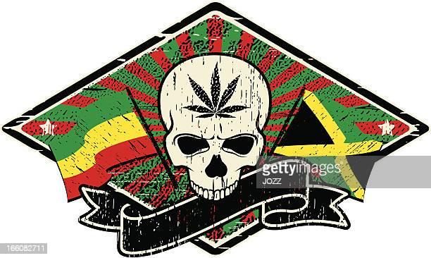 ilustrações de stock, clip art, desenhos animados e ícones de rastafari crânio bandeiras - reggae