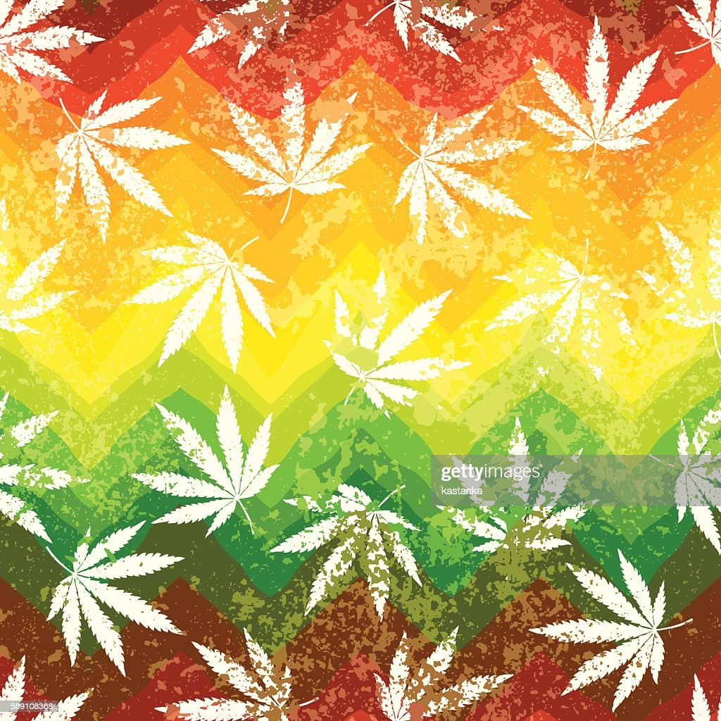 Rastafarian colors pattern and grunge hemp leaves.