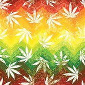 Rastafarian colors pattern and grunge hemp leaves.
