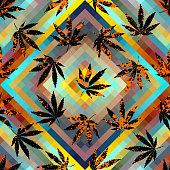 Rastafarian grunge hemp leaves.