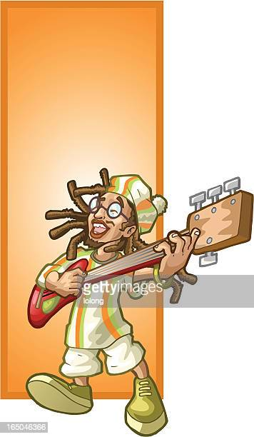 rastafarian guitar - rastafarian stock illustrations, clip art, cartoons, & icons