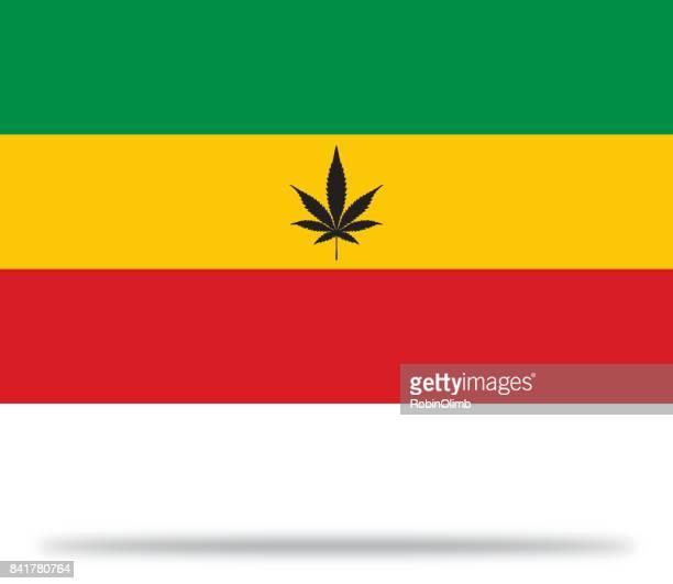 rastafarian marijuana flag with shadow - rastafarian stock illustrations, clip art, cartoons, & icons